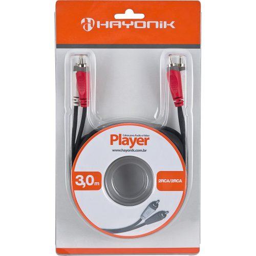 cabo de audio apenas 3 sobrando preto hayonik 2rca2 3 metros linha player e video 23237 2000 162322
