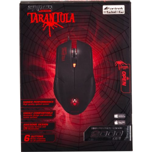 mouse usb gamer oferta fortrek om 702 preto vermelho spider tarantula 31032 2000 161300