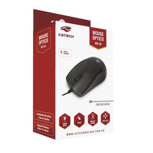 mouse usb ms 26bk c3 tech preto 45698 2000 197361