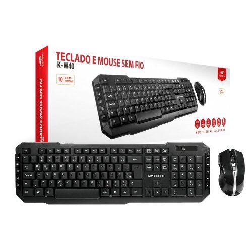 teclado e mouse sem fio c3 tech k w40bk preto 45179 2000 195471