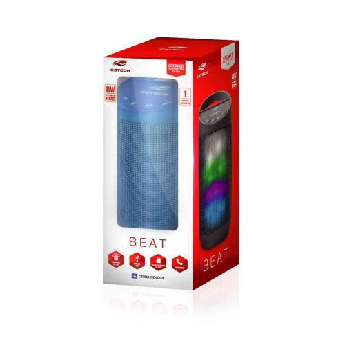 caixa de som novo azul c3tech 8w sp b50bl bluetooth beat 44193 2000 201461