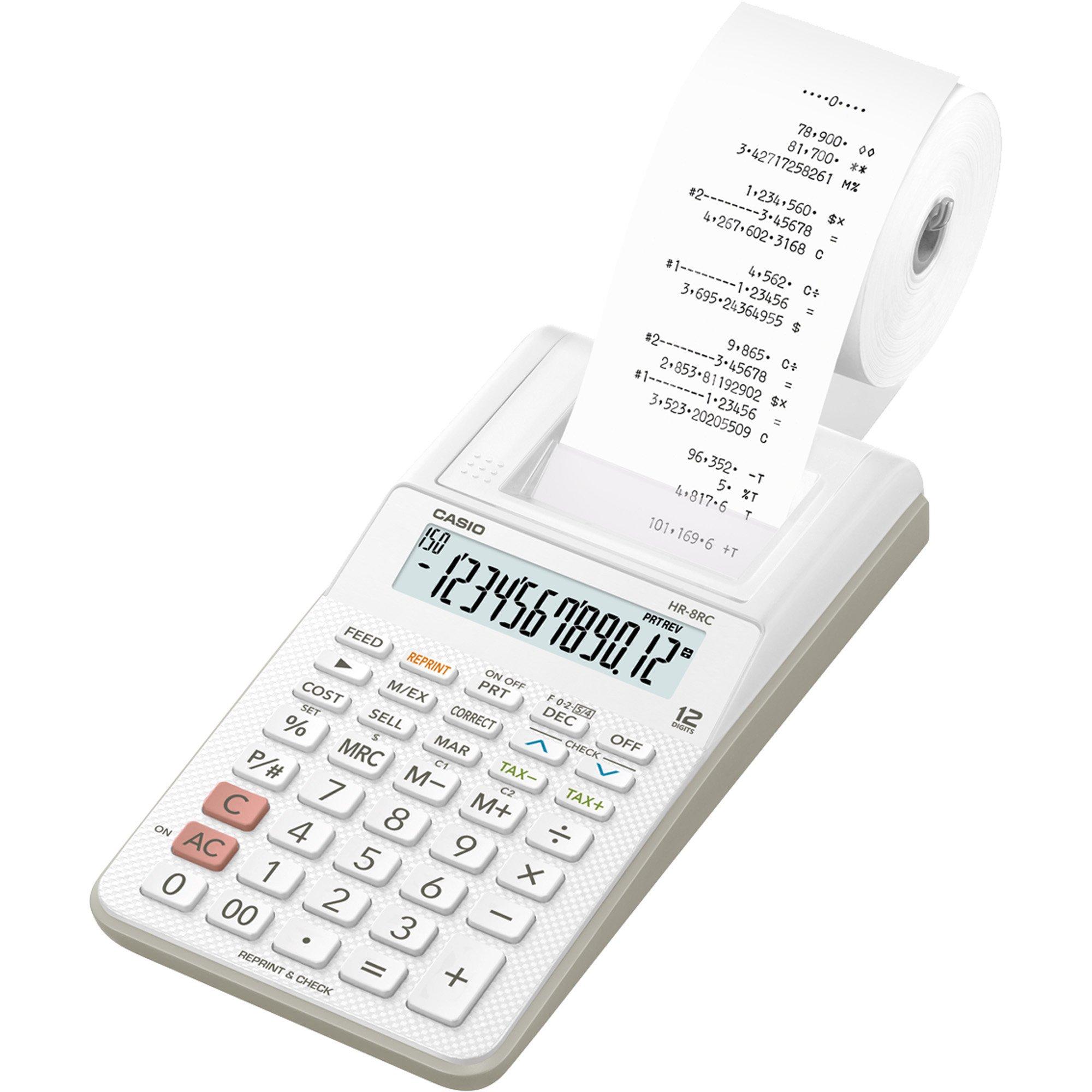 calculadora com bobina surpreendente casio hr 8rc we b dc branca 12 digitos 45475 2000 193767