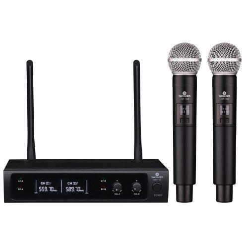 microfone sem fio comprovado harmonics uhf hsf 102 de mao duplo 49105 2000 199972
