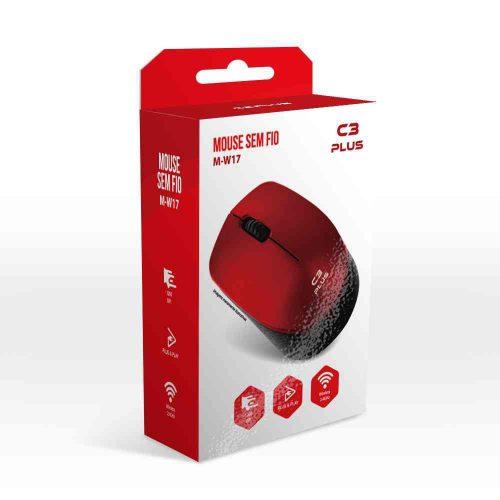 mouse sem fio 1600dpi m w017rd vermelho c3tech 50144 2000 201531